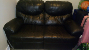 Genuine black leather loveseat couch