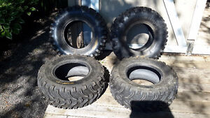 Atv tires 2 @ 25/10-12 low use $100 2 @26/9-12 $75