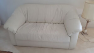 Off White Leather Loveseat - Penticton