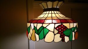 Antique Embossed Fruit Stained Glass Hanging Lamp - $350