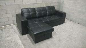 (Free Delivery) - Faux Leather Sectional Sofa Bed
