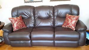 New Lazy-Boy brown leather reclining couch