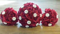 Red Rose and Pearl Bling Bouquet Set - 6 piece - $150 obo