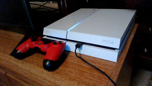 ps4 white 500gb with red controller and turtle beach headset