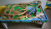 Thomas train table with tracks nailed and glued