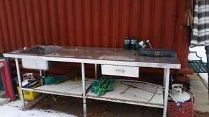 outdoor stainless steel counter with built in sink