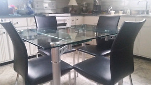 Glass Kitchen set and 4 chairs