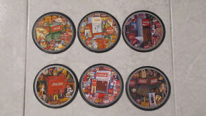 Complete set -6-Coca-Cola coasters Coke Machines from Years Ago