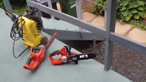 Pressure Sprayer. Battery Chain Saw and Hedge Trimmer