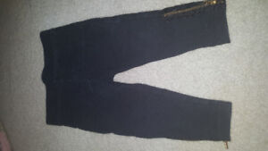 6-12month baby girl black tights with zippers at ankle euc