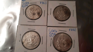 4, 1963 Canadian 50 cent. 80% silver (9.33 grams)