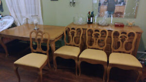 Antique Hardwood Dining Set with Buffet