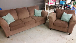 COUCH AND CHAIR WITH PILLOWS