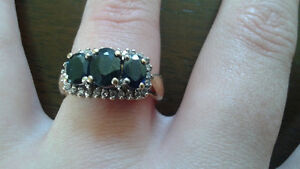 FOR SALE  10 K gold 3 stone Sapphire and Diamond RING