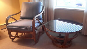 Rattan Chair & Glass Top Table