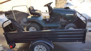 """USED 13.5 hp CRAFTSMAN AND NEW  52 """" X 7 FT. 4 """" UTILITY TRAILER"""