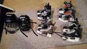 Hockey helmets  and skates for sale
