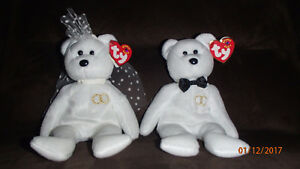 TY Beanie Babies Mr & Mrs Wedding Set NWT/Paire de Marriage