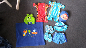 Boys size 12-18 months bathing suits, hats and sandals