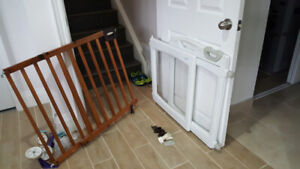 Wood and plastic baby gates, hardware mount top of stairs