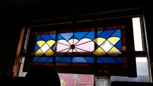 VINTAGE STAIN GLASS, LEADED, BEVELED, WOOD FRAME WINDOWS