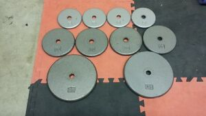 "weights for bench press steel 110 pounds 1"" hole dia."
