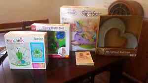 Baby seat, bottle rack, bath toys and night light