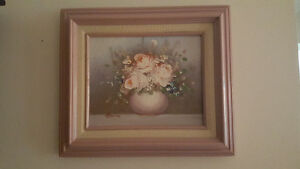 "SMALL 8""X10"" OIL ON CANVAS PAINTING FLOWERS SIGNED & FRAMED"