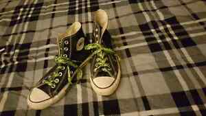 Convers with electric green and black zebra print laces