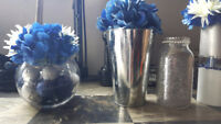 Silver and Navy/Royal Blue and Ivory Wedding Decorations $75