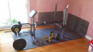 Bench press + dumbells + tapis