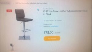 ZUO Use Faux Leather Adjustable Bar Stool In White