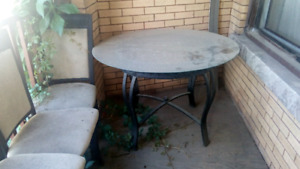 Outdoor matching glass table and chair set