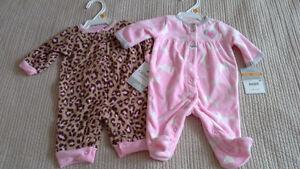 NWT Carter's girls fleece sleepers, newborn size