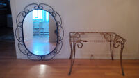 Wrought Iron Side Table and mirror set