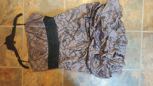 Brown Floral Prom Dress