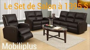 Spécial Set de salon inclinable contemporain à seulement 1395 $