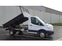 2015 15 PLATE FORD TRANSIT 350 TIPPER PICK UP ONLY 76K MILES FSH