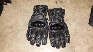 Longer Black Leather Motorcycle Gloves