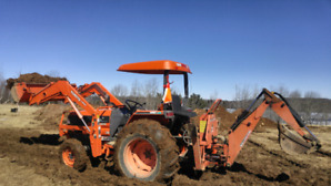 4x4 43hp kubota 4310 loader tractor and gx 700 wallenstein hoe