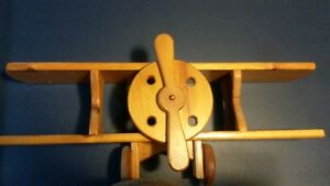 wooden airplane shelf