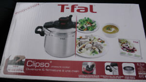 T-FAL Clipso Stainless Steel 6.3 Quart Pressure Cooker BRAND NEW