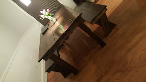Custom 6ft solid wood dining table + benches