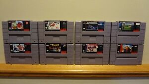 8 SNES Video Game Cartridges & 5 Dust Cover Caps