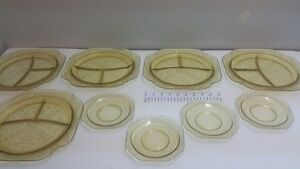 9 pieces of depression glass