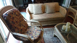 couch, love seat, coffee table, end tables, swivel chair rattan