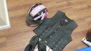 Motorcycle vest helmet and boots