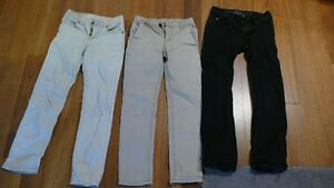 3 pairs of boys skinny jeans, size 8.  West 49, Vans and DC.