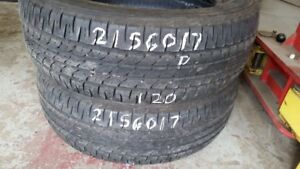 Pair of 2 Firestone Affinity 215/60R17 tires (50% tread life)