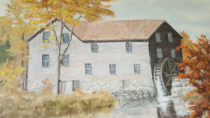 Scenic Water Mill Painting